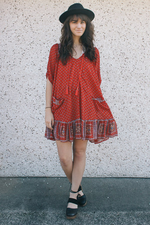 red free people dress - black free people clogs