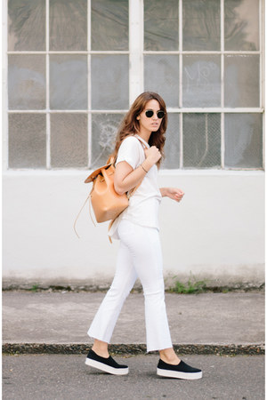 white Frame jeans - black Opening Ceremony shoes - white Zady t-shirt