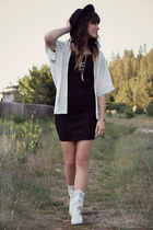 white vintage boots - black dress - white Sugar Lips cape