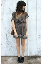 charcoal gray dress - black vintage boots - brown vintage bag