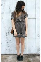 charcoal gray dress - black vintage boots - brown vintage bag