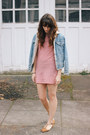 Red-bycorpus-dress-sky-blue-vintage-jacket-brown-topshop-flats