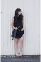 black free people bag - black Missguided dress - ivory komono glasses