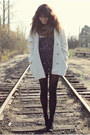 Deep-purple-overalls-free-people-romper-ivory-vintage-coat