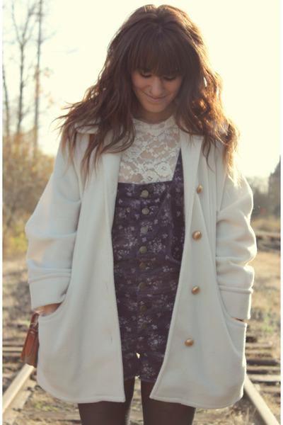 deep purple overalls free people romper - ivory vintage coat