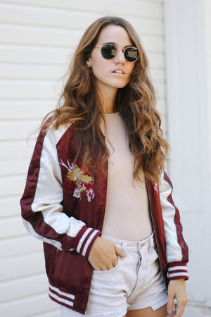 crimson vintage jacket - ivory Levis shorts - peach Missguided top