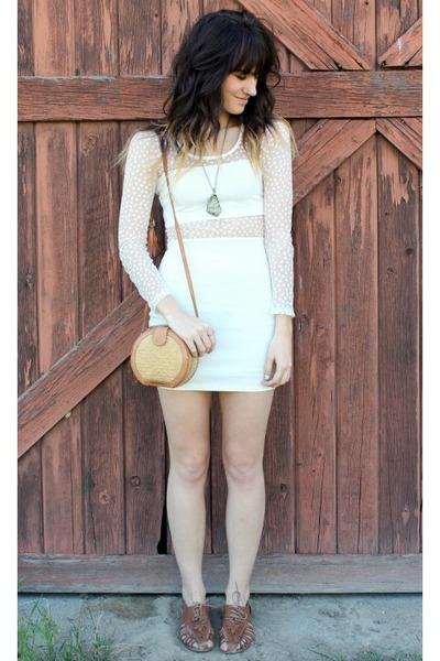 white cut out dress - mustard vintage bag - brown sandals