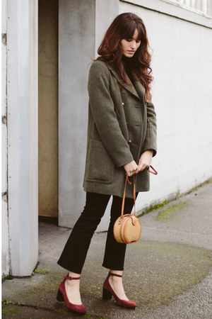 army green Marks & Spencer coat - black Marks & Spencer top