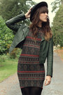 Black-boots-army-green-dress-dark-green-black-sheep-clothing-jacket