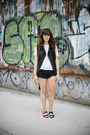 black Topshop vest - black free people shorts - white Urban Outfitters t-shirt