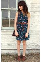brown vintage shoes - teal diy dress - purple vintage bag