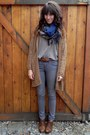 Dark-brown-vintage-shoes-navy-scarf-brown-thrfited-cardigan