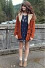Light-brown-boots-navy-beaded-dress-burnt-orange-minkpink-coat-gold-ring