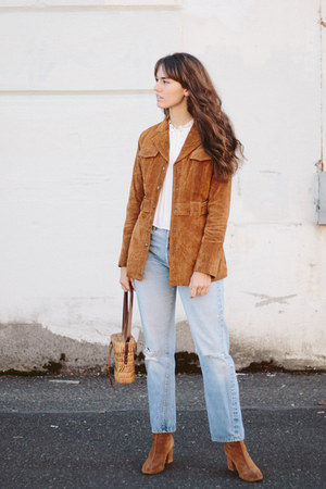 bronze Forever 21 jacket - brown free people boots - blue Levis jeans