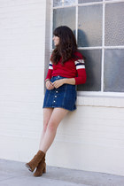 brown free people boots - ruby red Urban Outfitters sweater