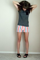red patriotic print evil twin shorts - black Wanted sandals