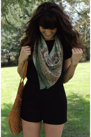 army green vintage scarf - black romper