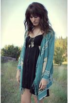black dress - brown vintage bag - turquoise blue fringe cardigan