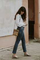 navy Frame jeans - white free people top - heather gray Jeffrey Campbell heels