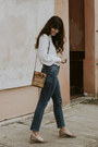Navy-frame-jeans-white-free-people-top-heather-gray-jeffrey-campbell-heels