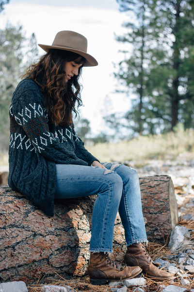 gray Whimsy  Row cardigan - dark brown vintage boots - navy 501 Levis jeans