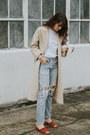 Nude-vintage-coat-sky-blue-levis-jeans-tawny-jeffrey-campbell-heels