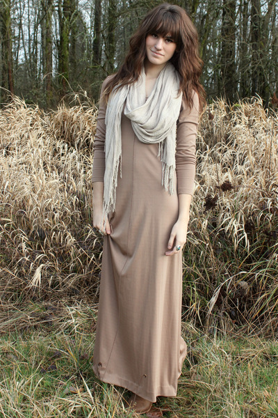 de7f6cdaf34e off white H M scarf - camel boots - tan vintage maxi dress. army green  jacket - tawny Jeffrey Campbell ...