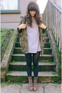 Dark-brown-vintage-boots-heather-gray-dress-army-green-coat