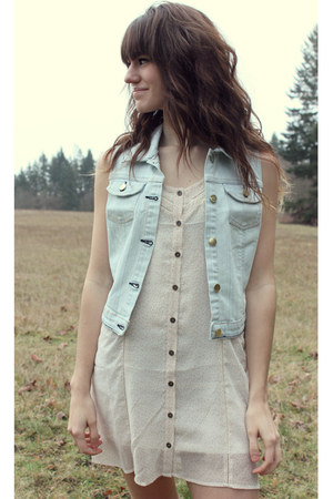 light blue Quiksilver vest - ivory Quiksilver dress