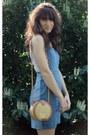 Sky-blue-jean-dahlia-dress-camel-vintage-bag-off-white-lace-top