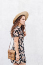Black-reformation-dress-gold-lack-of-color-hat-light-brown-vintage-bag