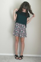 maroon floral print dress - forest green cropped Forever 21 top