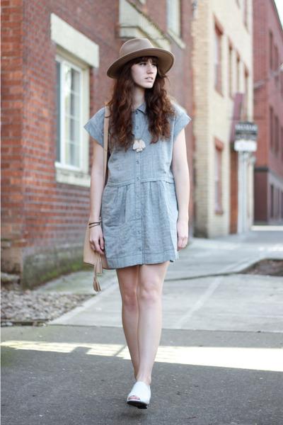 white Mamut shoes - light blue free people dress