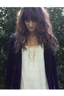 Deep-purple-velvet-jacket-ivory-free-people-dress-gold-necklace