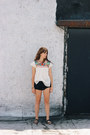 Black-free-people-shorts-off-white-vintage-top