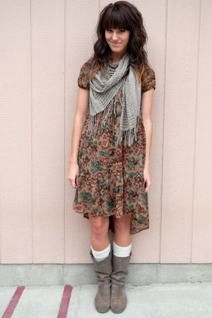 brown dress - heather gray Forever 21 scarf
