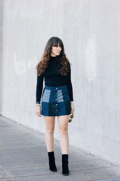 black vintage boots - navy Forever 21 skirt - black Forever 21 top