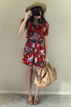 ruby red vintage romper - camel vintage sandals