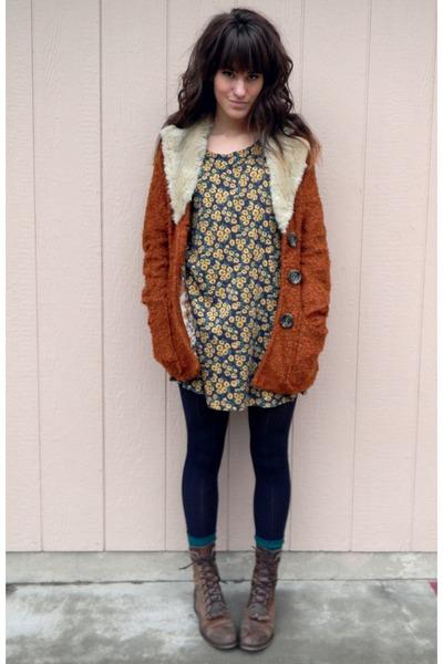 gold dress - dark brown vintage boots - burnt orange MinkPink coat