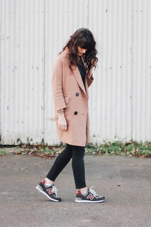 camel BLQ coat - black madewell jeans - gray New Balance sneakers