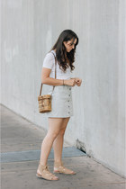 white Topshop top - light blue Urban Outfitters skirt - camel Matisse sandals