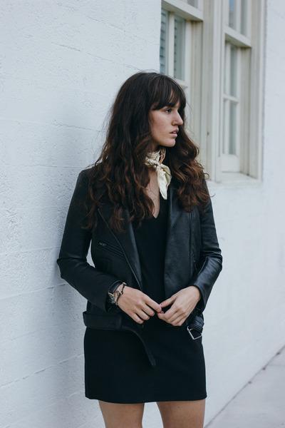 black Azalea coat - black Zara boots - black Missguided dress