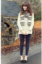 beige sweater - deep purple pants - black loafers