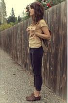 deep purple corduroy pants - neutral backpack bag - brown beatles tee t-shirt