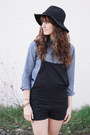 Black-free-people-hat-black-overalls-shorts-blue-j-crew-top