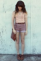 pink shorts - dark brown vintage shoes - peach blouse