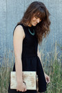 Turquoise-blue-necklace-dark-brown-boots-black-dress