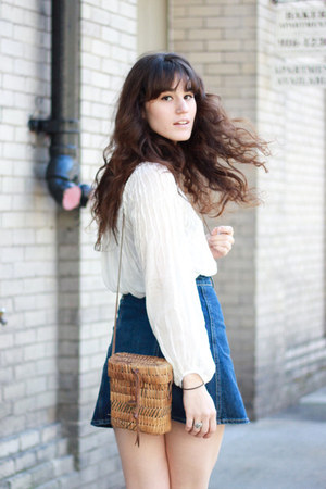 white free people blouse - brown bag - blue AG Jeans skirt