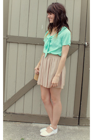 aquamarine blouse - nude American Apparel skirt - white Urban Outfitters flats