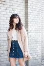 Brown-bag-white-free-people-blouse-blue-ag-jeans-skirt